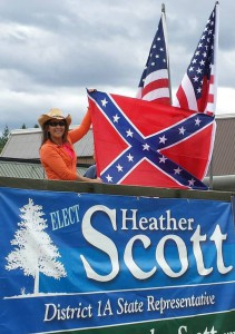 "This is the photo Idaho Rep. Heather Scott posted on Facebook, writing, ""Protecting and promoting our freedom of speech is an honor."""
