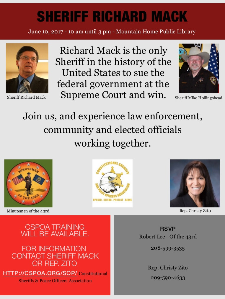 Sheriff Richard Mack is coming to Mountain Home, Idaho, on June 10, 2017